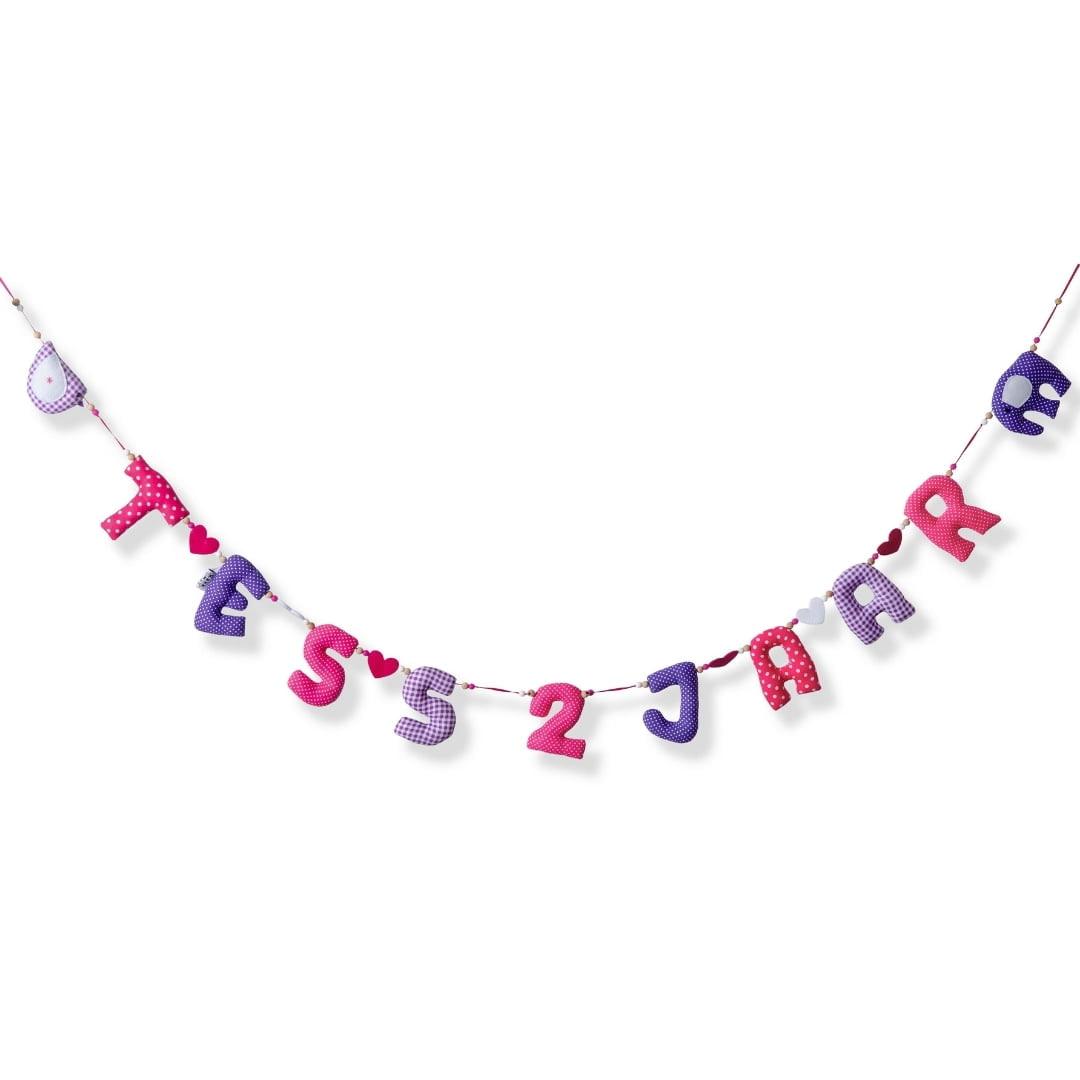 Horizontale Verjaardag Slingerslinger Roze Paars 2 Jaar Kiddycolors