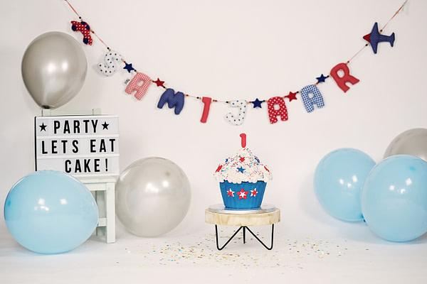Verjaardagsslinger Cakesmash Roodblauw