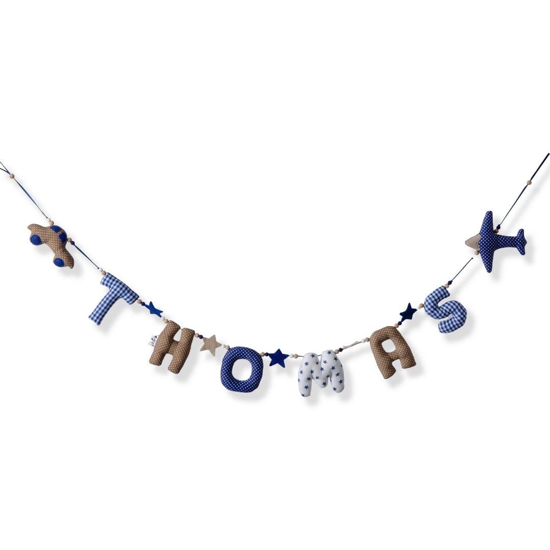 Horizontale Naamslingerslinger Blauw Wit Naturel Kiddycolors