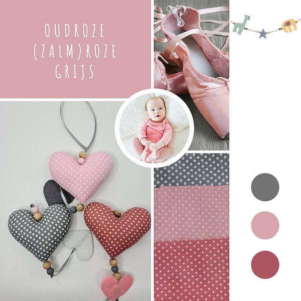 Oudroze (zalm)roze Grijs