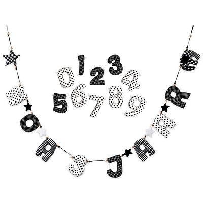Zwart Witte Verjaardagsslinger Met Cijfers